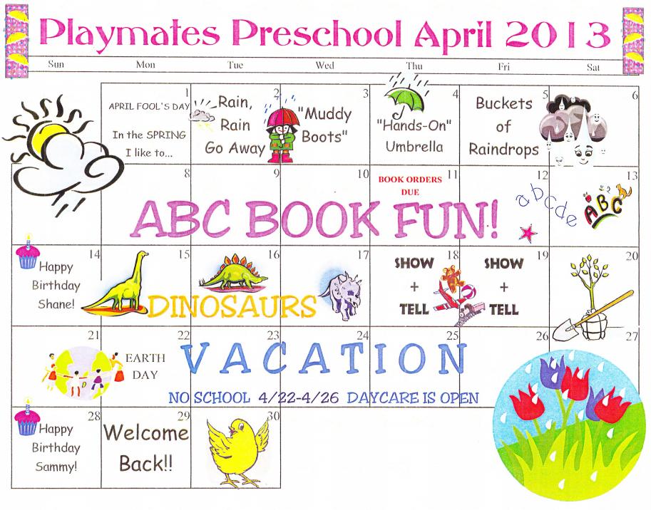 April 2013 PreSchool